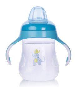 Bình uống nước Upass 250ml có 2 tay cầm với núm hút mềm cho bé từ 6 tháng tuổi xanh UP0152NX