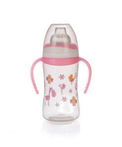 Bình uống nước Upass hồng 250ml có 2 tay cầm với núm hút mềm cho trẻ từ 4 tháng tuổi UP0154NH