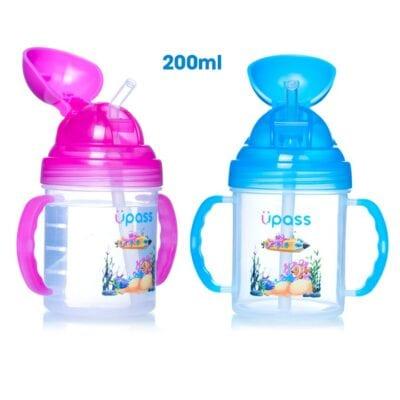 Cốc uống nước Upass 200ml có hai tay cầm vòi hút mềm cho bé từ 6 tháng tuổi UP0732Y