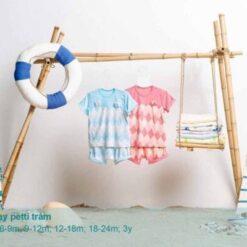 Bộ cộc tay trám Little Love vải Petit cho bé từ 3 tháng đến 3 tuổi