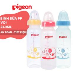 Bình sữa Pigeon 240ml cổ hẹp PP tiêu chuẩn Voi đỏ, xanh, vàng