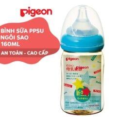 Bình sữa Pigeon 160ml cổ rộng PPSU Plus ngôi sao với núm vú silicone siêu mềm Plus