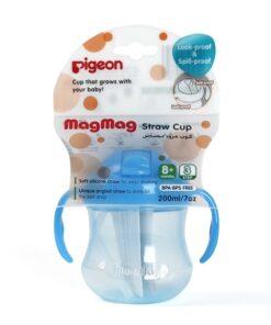 Bình tập uống Pigeon 200ml có tay cầm và ống hút Mag Mag xanh dương D74104800