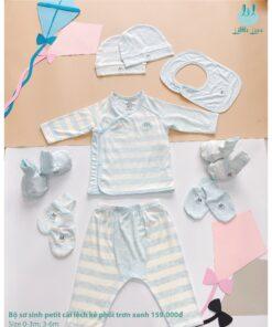 Bộ sơ sinh dài tay cài lệch Little Love vải petit - Kẻ phối trơn xanh