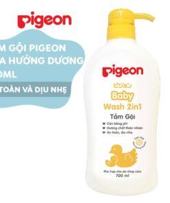 Sữa tắm gội dịu nhẹ Pigeon hoa hướng dương 700ml 2in1